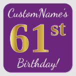 [ Thumbnail: Purple, Faux Gold 61st Birthday + Custom Name Sticker ]