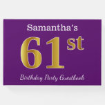 [ Thumbnail: Purple, Faux Gold 61st Birthday Party; Custom Name Guest Book ]