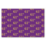 [ Thumbnail: Purple, Faux Gold 61st (Sixty-First) Event Tissue Paper ]