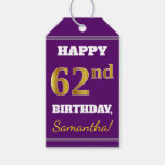 [ Thumbnail: Purple, Faux Gold 62nd Birthday + Custom Name Gift Tags ]