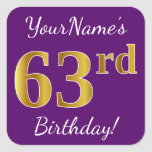 [ Thumbnail: Purple, Faux Gold 63rd Birthday + Custom Name Sticker ]