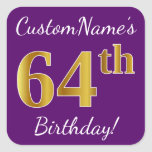 [ Thumbnail: Purple, Faux Gold 64th Birthday + Custom Name Sticker ]