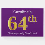 [ Thumbnail: Purple, Faux Gold 64th Birthday Party; Custom Name Guest Book ]