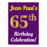 [ Thumbnail: Purple, Faux Gold 65th Birthday Celebration + Name Invitation ]