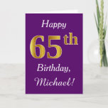 [ Thumbnail: Purple, Faux Gold 65th Birthday + Custom Name Card ]