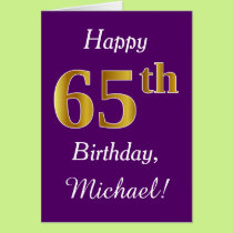 Purple, Faux Gold 65th Birthday   Custom Name Card