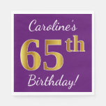 [ Thumbnail: Purple, Faux Gold 65th Birthday + Custom Name Paper Napkin ]