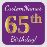 [ Thumbnail: Purple, Faux Gold 65th Birthday + Custom Name Sticker ]