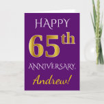 [ Thumbnail: Purple, Faux Gold 65th Wedding Anniversary + Name Card ]