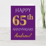 [ Thumbnail: Purple, Faux Gold 65th Wedding Anniversary + Name Card ]