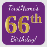 [ Thumbnail: Purple, Faux Gold 66th Birthday + Custom Name Sticker ]