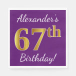 [ Thumbnail: Purple, Faux Gold 67th Birthday + Custom Name Paper Napkin ]