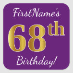 [ Thumbnail: Purple, Faux Gold 68th Birthday + Custom Name Sticker ]