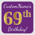 [ Thumbnail: Purple, Faux Gold 69th Birthday + Custom Name Sticker ]
