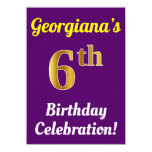 [ Thumbnail: Purple, Faux Gold 6th Birthday Celebration + Name Invitation ]