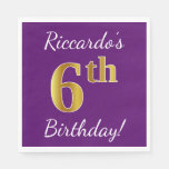 [ Thumbnail: Purple, Faux Gold 6th Birthday + Custom Name Napkin ]