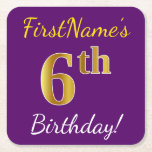[ Thumbnail: Purple, Faux Gold 6th Birthday + Custom Name Paper Coaster ]