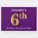 [ Thumbnail: Purple, Faux Gold 6th Birthday Party + Custom Name Guest Book ]