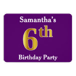 [ Thumbnail: Purple, Faux Gold 6th Birthday Party + Custom Name Invitation ]
