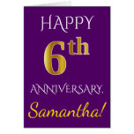 [ Thumbnail: Purple, Faux Gold 6th Wedding Anniversary + Name Card ]