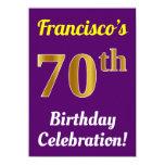 [ Thumbnail: Purple, Faux Gold 70th Birthday Celebration + Name Invitation ]