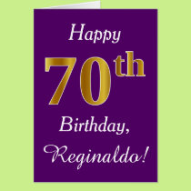 Purple, Faux Gold 70th Birthday   Custom Name Card