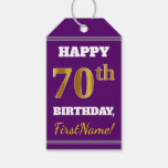 [ Thumbnail: Purple, Faux Gold 70th Birthday + Custom Name Gift Tags ]