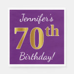 [ Thumbnail: Purple, Faux Gold 70th Birthday + Custom Name Napkin ]