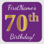 [ Thumbnail: Purple, Faux Gold 70th Birthday + Custom Name Sticker ]