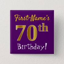 Purple, Faux Gold 70th Birthday, With Custom Name Button