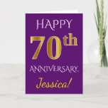 [ Thumbnail: Purple, Faux Gold 70th Wedding Anniversary + Name Card ]