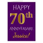 [ Thumbnail: Purple, Faux Gold 70th Wedding Anniversary + Name Card ]