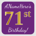[ Thumbnail: Purple, Faux Gold 71st Birthday + Custom Name Sticker ]