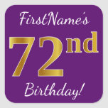 [ Thumbnail: Purple, Faux Gold 72nd Birthday + Custom Name Sticker ]