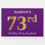 [ Thumbnail: Purple, Faux Gold 73rd Birthday Party; Custom Name Guest Book ]