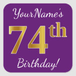 [ Thumbnail: Purple, Faux Gold 74th Birthday + Custom Name Sticker ]