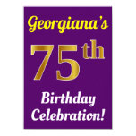 [ Thumbnail: Purple, Faux Gold 75th Birthday Celebration + Name Invitation ]