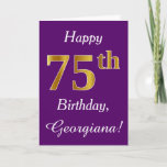 [ Thumbnail: Purple, Faux Gold 75th Birthday + Custom Name Card ]