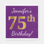 [ Thumbnail: Purple, Faux Gold 75th Birthday + Custom Name Paper Napkin ]