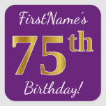 [ Thumbnail: Purple, Faux Gold 75th Birthday + Custom Name Sticker ]