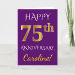 [ Thumbnail: Purple, Faux Gold 75th Wedding Anniversary + Name Card ]