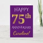 [ Thumbnail: Purple, Faux Gold 75th Wedding Anniversary + Name Card ]