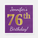 [ Thumbnail: Purple, Faux Gold 76th Birthday + Custom Name Paper Napkin ]