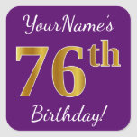 [ Thumbnail: Purple, Faux Gold 76th Birthday + Custom Name Sticker ]