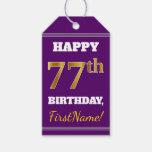 [ Thumbnail: Purple, Faux Gold 77th Birthday + Custom Name Gift Tags ]