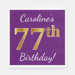 [ Thumbnail: Purple, Faux Gold 77th Birthday + Custom Name Paper Napkin ]