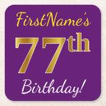 [ Thumbnail: Purple, Faux Gold 77th Birthday + Custom Name Paper Coaster ]