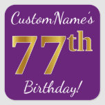 [ Thumbnail: Purple, Faux Gold 77th Birthday + Custom Name Sticker ]