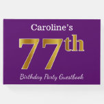 [ Thumbnail: Purple, Faux Gold 77th Birthday Party; Custom Name Guest Book ]