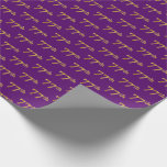 [ Thumbnail: Purple, Faux Gold 77th (Seventy-Seventh) Event Wrapping Paper ]